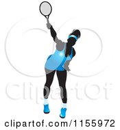 Clipart Of A Silhouetted Swinging Tennis Woman In A Blue Outfit Royalty Free Vector Illustration by Lal Perera