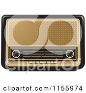 Clipart Of A Black And Gold Retro Radio Royalty Free Vector Illustration by Lal Perera