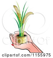 Clipart Of A Pair Of Hands Holding Wheat Royalty Free Vector Illustration by Lal Perera