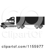 Clipart Of A Black And White Big Rig Truck Royalty Free Vector Illustration