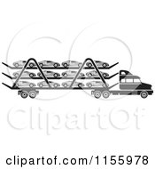 Clipart Of A Black And White Big Rig Truck Transporting Cars Royalty Free Vector Illustration