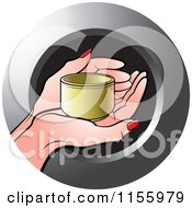 Clipart Of An Icon Of A Hand Holding A Small Gold Cup Royalty Free Vector Illustration