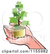 Clipart Of A Pair Of Hands Holding A Grape Vine Plant Royalty Free Vector Illustration by Lal Perera