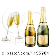 Clipart Of Glasses And Bottles Of Champagne Royalty Free Vector Illustration