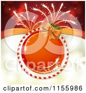 Christmas Or New Year Background Of Fireworks And A Round Candy Cane Frame