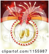 Clipart Of A New Year Background Of Fireworks And Champagne Royalty Free Vector Illustration
