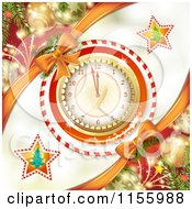 Clipart Of A New Year Background Of Fireworks Ornaments And A Clock Royalty Free Vector Illustration