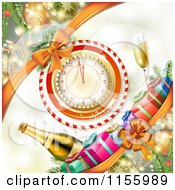 Clipart Of A New Year Background Of Fireworks A Clock And Champagne Royalty Free Vector Illustration