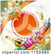 Clipart Of A New Year Background Of Gifts And Champagne With A Frame Royalty Free Vector Illustration