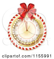 Clipart Of A New Year Clock With A Red Bow And Candy Cane Ring Royalty Free Vector Illustration
