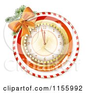 Clipart Of A New Year Clock With A Bow And Candy Cane Ring Royalty Free Vector Illustration