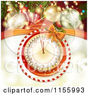 Clipart Of A New Year Background Of Fireworks Baubles And A Clock Royalty Free Vector Illustration