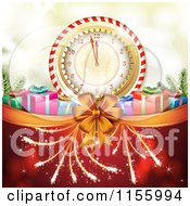 Clipart Of A New Year Background Of Fireworks Gifts And A Clock Royalty Free Vector Illustration