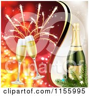 Clipart Of A New Year Background With Champagne Glasses Fireworks And A Bottle Royalty Free Vector Illustration