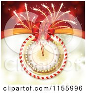 Clipart Of A New Year Background Of Fireworks And A Clock Royalty Free Vector Illustration
