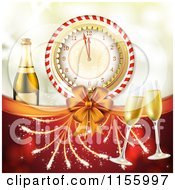 Clipart Of A New Year Background With Champagne Glasses A Count Down Clock Bow And Fireworks Royalty Free Vector Illustration