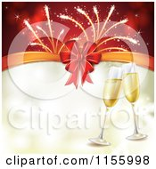Clipart Of A New Year Background With Champagne Glasses Fireworks And A Bow Royalty Free Vector Illustration