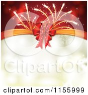 Clipart Of A New Year Background Of Fireworks A Bow And Bokeh Royalty Free Vector Illustration