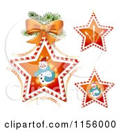 Clipart Of Candy Cane Stars With Snowmen And Fireworks Royalty Free Vector Illustration by merlinul