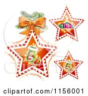 Clipart Of Candy Cane Stars With Christmas Stockings And Gifts Royalty Free Vector Illustration