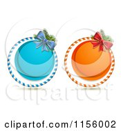 Blue And Orange Round Christmas Icons With Bows