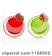 Red And Green Round Christmas Icons With Bows