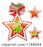 Clipart Of Candy Cane Stars With Christmas Trees Royalty Free Vector Illustration