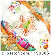 Clipart Of A Christmas Background Of Presents Baubles And A Tree Star Royalty Free Vector Illustration