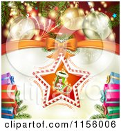 Clipart Of A Christmas Background Of Presents Baubles And A Stocking Star Royalty Free Vector Illustration