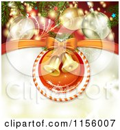 Clipart Of A Christmas Background Of Bells In A Candy Cane Ring Under Baubles Royalty Free Vector Illustration