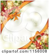 Clipart Of A Christmas Background Baubles And Bows With Copyspace Royalty Free Vector Illustration by merlinul