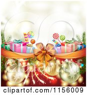 Clipart Of A Christmas Background Of Presents Fireworks Baubles Candy And A Bow Royalty Free Vector Illustration