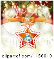 Clipart Of A Christmas Background Of Baubles And Fireworks Over A Candy Cane Snowman Star Royalty Free Vector Illustration