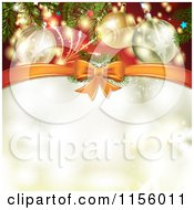 Clipart Of A Christmas Background Baubles And A Bow With Copyspace Royalty Free Vector Illustration