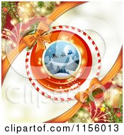 Clipart Of A Christmas Background Of Santas Sleigh Baubles And Fireworks Royalty Free Vector Illustration