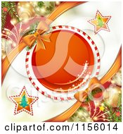 Clipart Of A Christmas Background Of A Candy Cane Frame With Baubles Royalty Free Vector Illustration