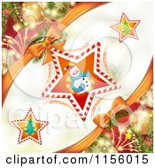 Clipart Of A Christmas Background Of A Snowman In A Candy Cane Star With Baubles Royalty Free Vector Illustration