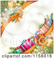 Clipart Of A Christmas Background Of Presents Branches Bows And Copyspace Royalty Free Vector Illustration