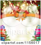 Clipart Of A Christmas Background Of Presents Branches Bows And Copyspace 3 Royalty Free Vector Illustration