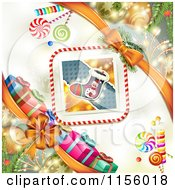 Clipart Of A Christmas Background Of Presents Baubles And A Stocing Royalty Free Vector Illustration