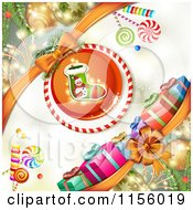 Clipart Of A Christmas Background Of Presents Baubles Candy And A Stocking Royalty Free Vector Illustration