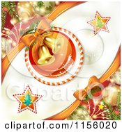Clipart Of A Christmas Background Of Baubles And Bells In A Candy Cane Ring Royalty Free Vector Illustration