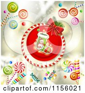 Clipart Of A Christmas Stocking And Candy Royalty Free Vector Illustration