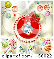 Clipart Of A Christmas Snowman And Candy Royalty Free Vector Illustration