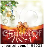Clipart Of A Christmas Background Of Fireworks A Bow And Tree Branches Royalty Free Vector Illustration