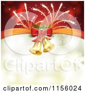 Clipart Of A Christmas Background Of Fireworks And Bells With Copyspace Royalty Free Vector Illustration