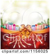 Clipart Of A Christmas Background Of Presents Fireworks And A Bow Royalty Free Vector Illustration