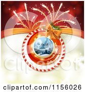Clipart Of A Christmas Background Of Santas Sleigh And Fireworks Royalty Free Vector Illustration