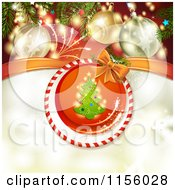 Clipart Of A Christmas Background Of Fireworks Baubles And A Christmas Tree Royalty Free Vector Illustration