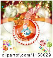 Clipart Of A Christmas Background Of Fireworks Baubles Candy And A Snowman Royalty Free Vector Illustration